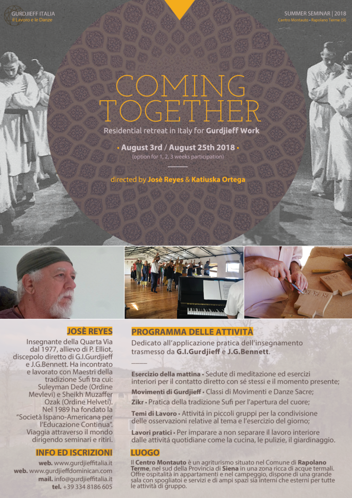 COMING TOGETHER - Summer Seminar Italy 2018