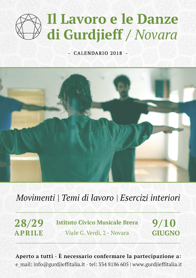 GURDJIEFF Novara - Calendario 2018